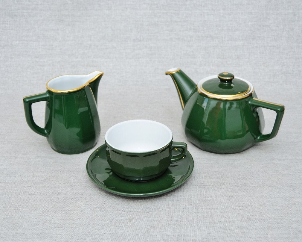 Vintage French Apilco Porcelain Italian Green Tea Set