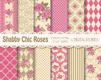 """Shabby Chic Digital Paper:"""" SHABBY SWEET PINK""""  Vintage Textured Papers with roses in Hot Pink, Beige for invites, cards"""