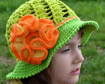 CROCHET SUMMER HAT - Crochet Sun hat, Girls Hat, Children, Large Flower, Cotton Beach Sun Hat, Brim, Baby, Crochet pattern, Green, Orange