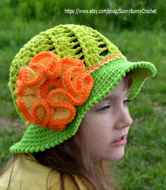 Free Crochet Pattern For Childs Owl Hat : CROCHET SUMMER HAT Crochet Sun hat Girls Hat Children