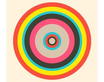 Around in Circles No. 3, Original Art Print, Geometric, Target, Pink, Red, Yellow