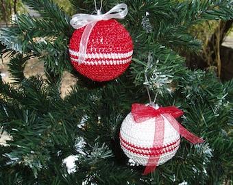 2 Christmas Crochet Balls, Christmas Decoration, Crochet Balls Ornaments, Handmade Shatterproof Balls