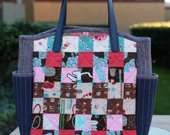 Modern patch bag(Handmade, quilted)