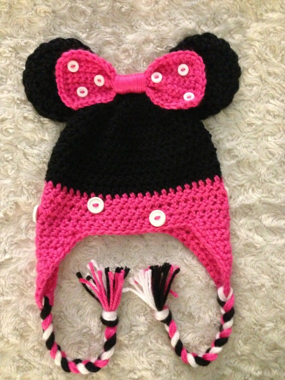 Free Minnie Mouse Crochet Hat Pattern With Ear Flaps : Crochet Toddler Minnie Mouse Hat by BabyKissesCrochet on Etsy