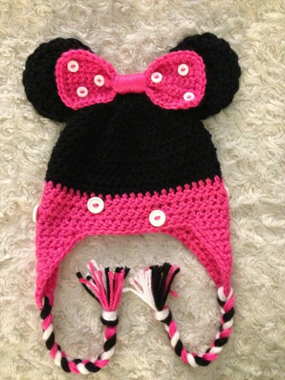 Free Crochet Pattern For Toddler Minnie Mouse Hat : Crochet Toddler Minnie Mouse Hat
