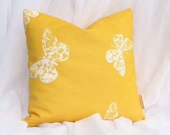 Premier Prints Butterfly Slub Yellow Decorative Throw Pillow Cover ONE 18x18 inch hidden zipper