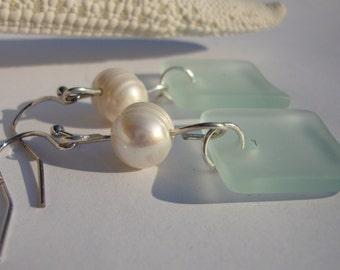 Sea Foam Green Sea Glass Earrings with Freshwater Pearls