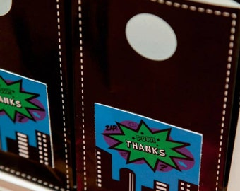 Superhero Themed Favour Tags / Thankyou Tags Square / Superhero Party - INSTANT DOWNLOAD