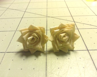 Duck Tape Rose Earrings- Pastel Yellow