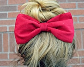 Red Corduroy Hair Bow
