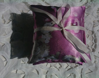Lavender Filled Pink Cherry Blossom Satin Sachets - Set of 3