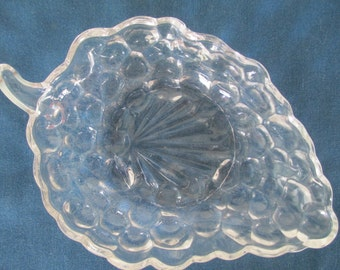 Clear Glass Grape Candy Nut Dish Vintage Collectible Glassware