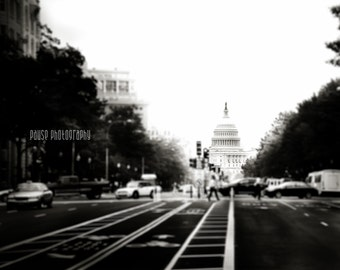"""Washington DC, Art, Black and White Photography, Capitol Building, Capitol Dome, Fine Art Print, Wall Decor, DC Art - """"Headed for the Hill"""""""
