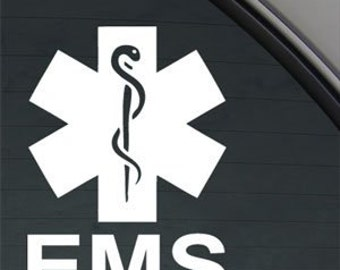 "EMS Emergency Medical Servces Star Of Life 5"" Vinyl Decal Widow Sticker for Car, Truck, Motorcycle, Laptop, Ipad, Window, Wall, ETC"