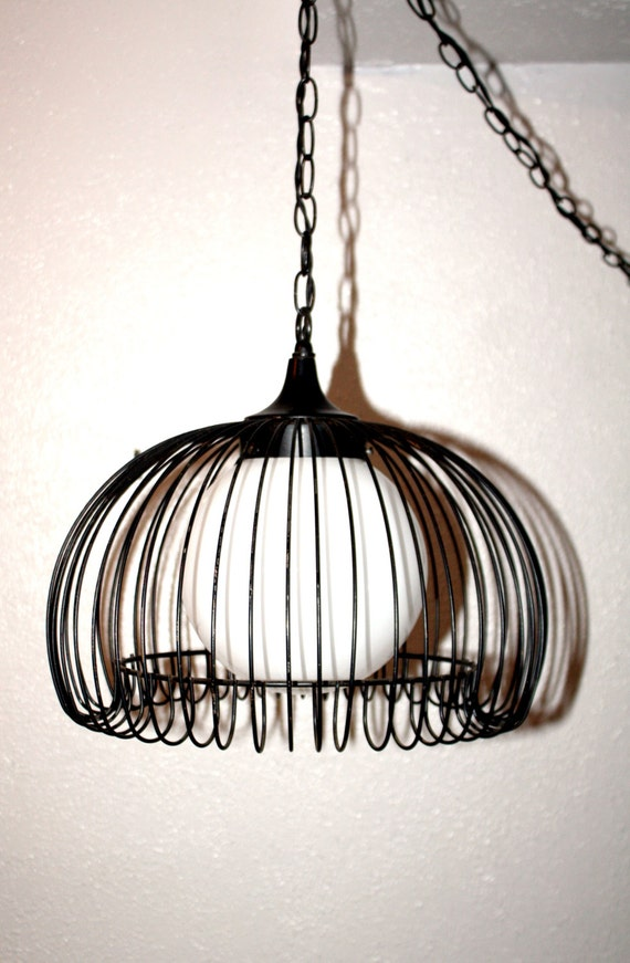Hanging Lamps That Plug In To The Wall : Antique/ Vintage Hanging Swag Light Metal by QUEENIESECLECTIC