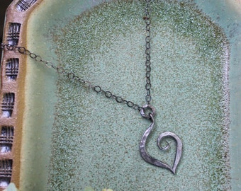 Iron Jewelry: 6th Anniversary Iron Heart Pendent on Oxidized Sterling Silver Chain
