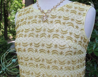 Sale - Sale -Vintage 1950-60's  Hand Beaded Cream and Gold TOP