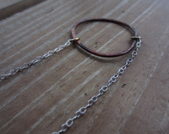 Hammered Copper Hoop Necklace, Copper Circle Necklace, Eternity Necklace