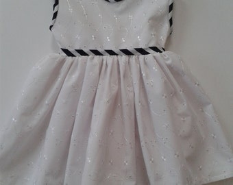 White Embroidered Anglais Baby Dress With Navy Piping. Only 1 Left in 0 - 3 mths
