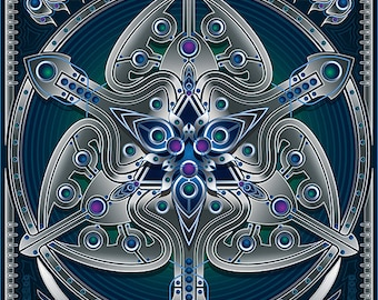 Unique abstract digital art print - Silver Clover