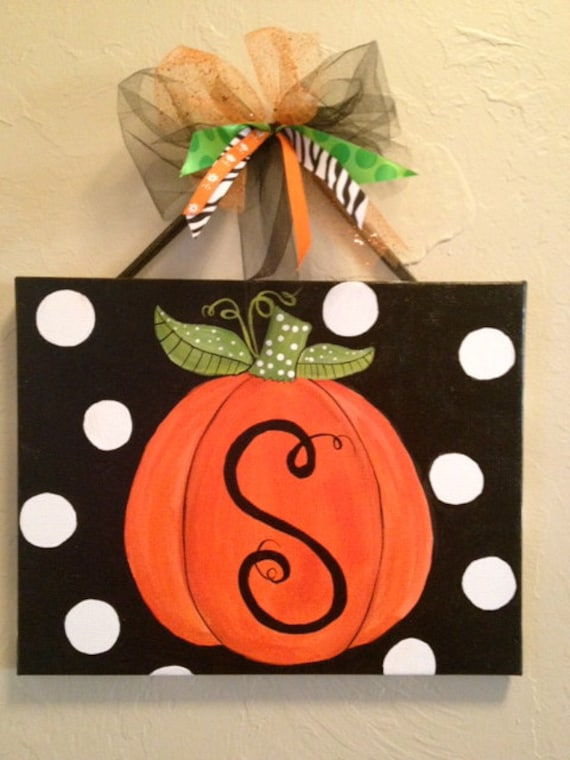 items similar to halloween or fall custom pumpkin canvas on etsy. Black Bedroom Furniture Sets. Home Design Ideas