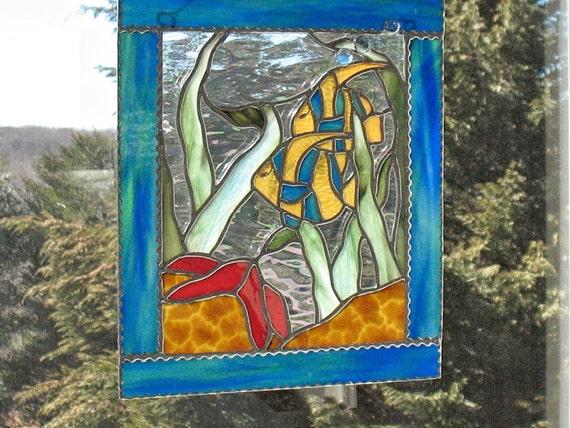 Bord de mer art vitrail fen tre panneau suspendu avec toile for Decoration bord fenetre