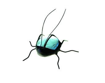 SMALL stained glass bug beetle suncatcher home decor light blue