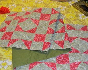 Primitive Rustic Quilt Green Tassle Prairie Southwestern AMericana Runner