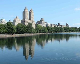 Central Park, New York Photography, 5x7, 8x10 Fine Art Print, Reservoir Reflections, Summer home decor, El Dorado building