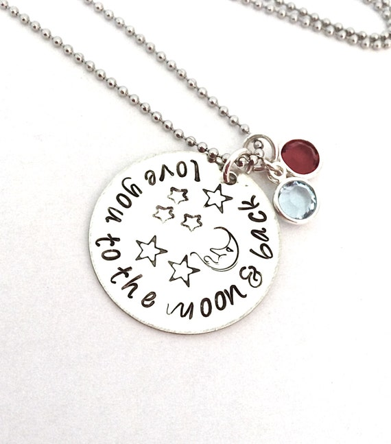 SALE Love You to the Moon Necklace hand stamped with Swarovski Crystal Birthstones