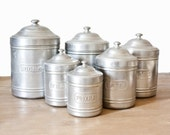 Set of 6 French Authentic Vintage Aluminum Canisters - Vintage box kitchenware - Home Decor Box - Industrial