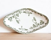 Beautiful porcelain french oval dish - White with green modern floral pattern