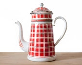 Rare Antique French White and red plaid Enamelware Coffee Pot - French vintage - Home Decor - Country style - Shabby chic