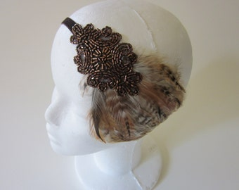Copper Bronze 1920s Headband Great Gatsby brown fascinator, Great Gatsby fascinator, Headpiece brown caramel beaded fascinator, flapper