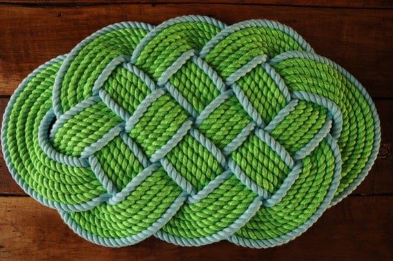 Items similar to nautical decor rope rug nautical bath for Rope bath mat