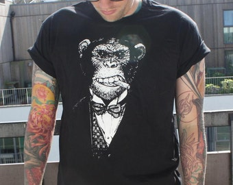 monkey business- smoking chimp tee