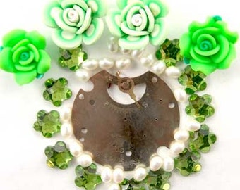 Steampunk Watch Part, Fimo Flower, Pearl, Glass, Enchanted Flower Garden Bead Set 16935