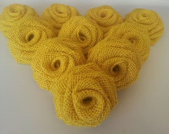 Yellow Burlap Flowers Yellow  Burlap Roses  Burlap Flowers Burlap Roses Yellow Burlap  Rustic wedding decor - 12 pieces