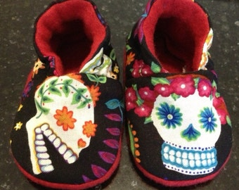 Day of the Dead Muertos Punk Baby Booties 0-3 mo OR 6-12 Mo For A Rockabilly Baby sugar skulls