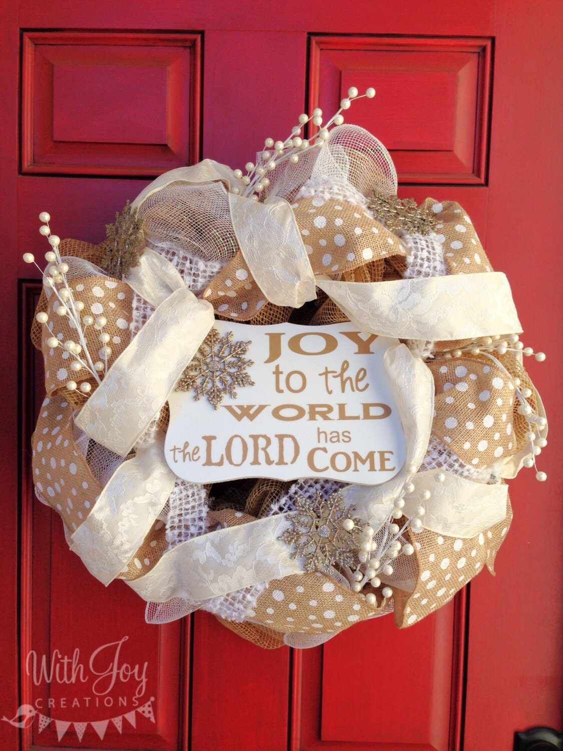 Christmas Joy to the World Deco Mesh Wreath with custom made Joy to the World sign.