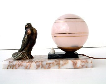 French vintage ART DECO dove sculpture table lamp with a marble base and pale rose glass ball shade. Bedside table lamp.