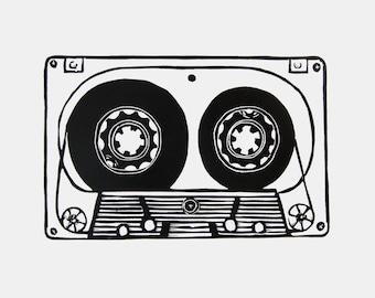 Classic Cassette Tape Art - original linocut print, retro cassette print, 80's inspired art