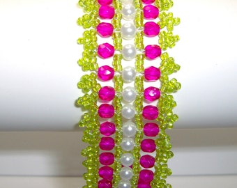 Lime green and hot pink bracelet, beadwork bracelet, lime green bracelet, hot pink bracelet, hot pink cuff, lime green cuff,