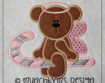 Cute Candy Cane Angel Bear Applique