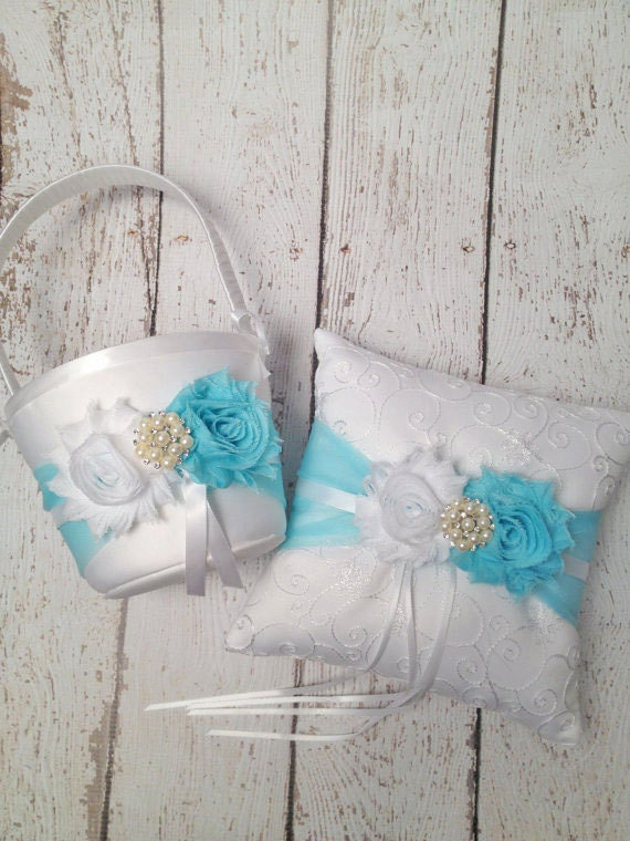 TIFFANY BLUE Flower Girl Basket & Ring Bearer Pillow Set / You Design / Many Colors to Choose