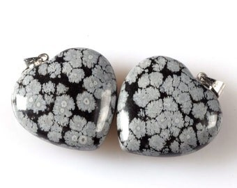 g2335 Two 25mm Snowflake obsidian heart pendant focal bead