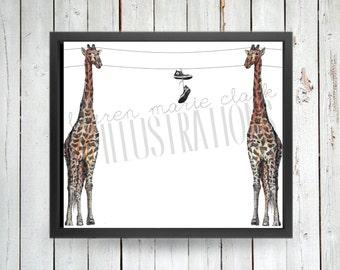 Giraffe Poles, Art Print, Illustration