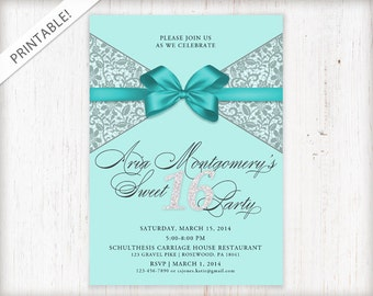 Sweet 16 Invitation - Sweet Sixteen Birthday Invite - Turquoise Blue - Bow - Printable Digital File