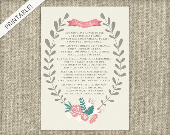 New Baby Announcement Poem Printable Card Floral Pregnancy – Baby Announcements Poems
