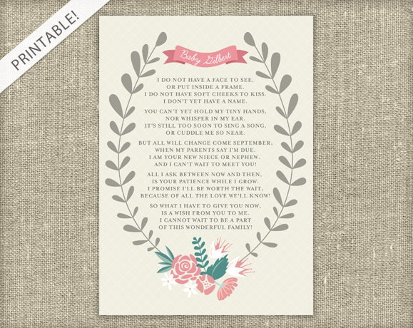 New Baby Announcement Poem Printable Card Floral Pregnancy